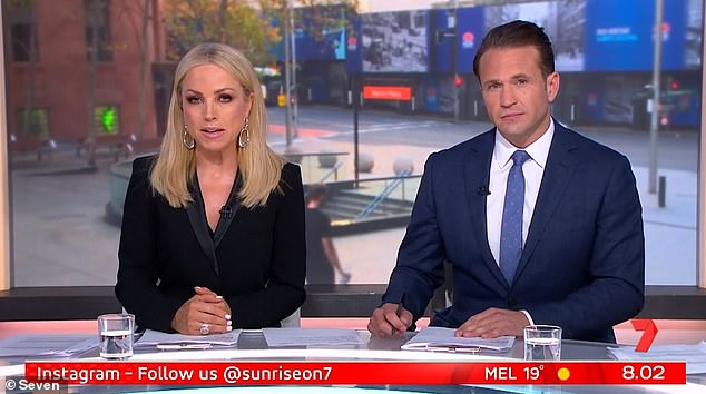 Business as usual: Monique Wright put on a brave face as she hosted Weekend Sunrise on Saturday, days after it was confirmed that she's split from her husband Tim Scanlan. Pictured alongside co-host Matt Doran