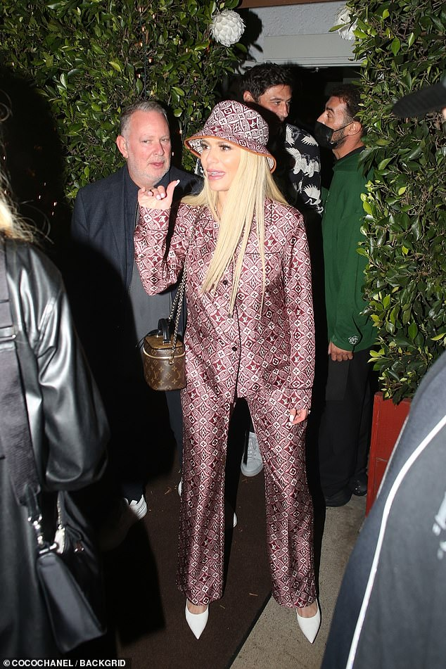 Statement:Dorit Kemsley, 44, turned heads on Friday when she stepped out in Malibu wearing a patterned silk pyjama set to join Petra Ecclestone, 32, on a double date