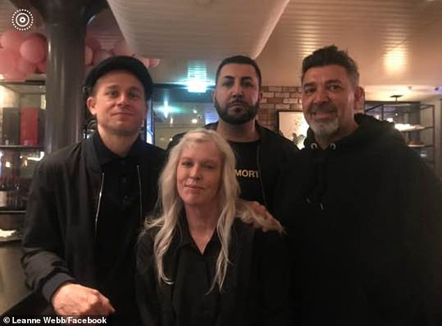 So sweet!Charlie Hunnam (far left) is currently in Australia filming his new TV series. And on Friday night, the Sons of Anarchy star mingled with locals during a night out in Melbourne