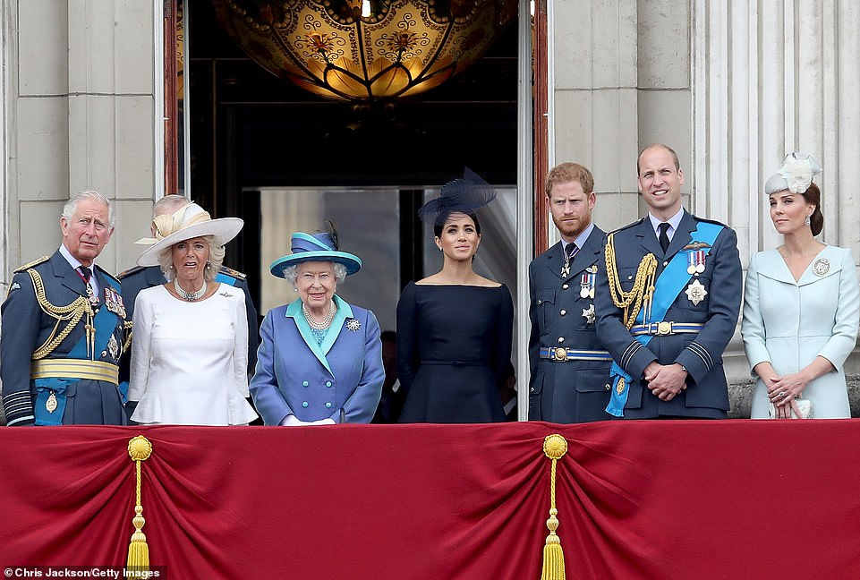 Prince Harry accused the Royal Family of treating Meghan with ¿total neglect¿ while she was suicidal and said they had felt ¿bullied into silence¿. Pictured: The royal family watch the RAF flypast in 2018
