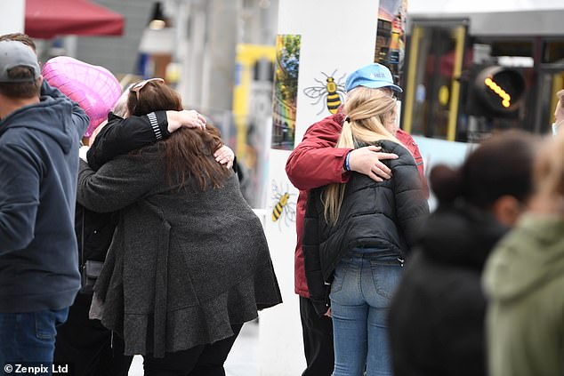 Other heartfelt items that were left to remember the victims who travelled to watch an Ariana Grande concert but never returned home included cards and teddy bears