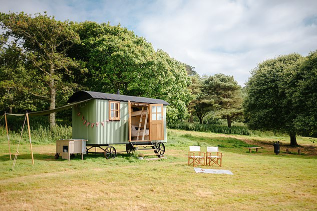 Chic: Mount Edgcumbe's shepherd's hut is small but perfectly formed
