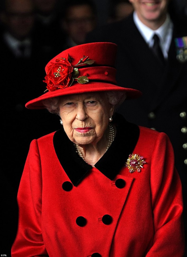 Defence Secretary Ben Wallace said the warship's deployment 'will be flying the flag for Global Britain - projecting our influence, signalling our power'. Pictured: Queen visits the HMS Queen Elizabeth on Saturday