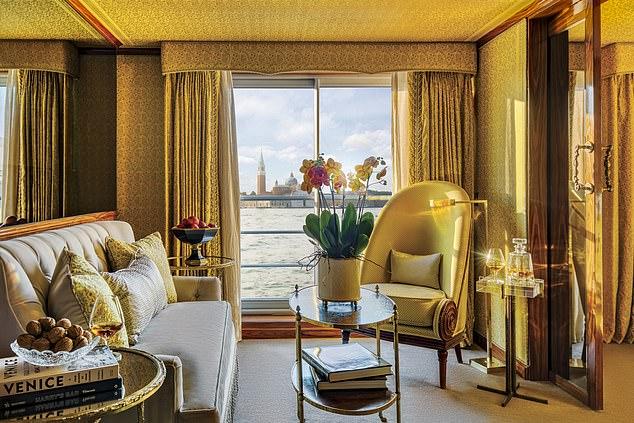 A cabin on board Super Ship La Venezia, which has been inspired by Venetian culture