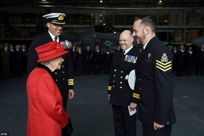 As well as touring the HMS Queen Elizabeth, the monarch also presented the 15 years long service and good conduct medal to Petty Officer Matthew Ready (pictured)