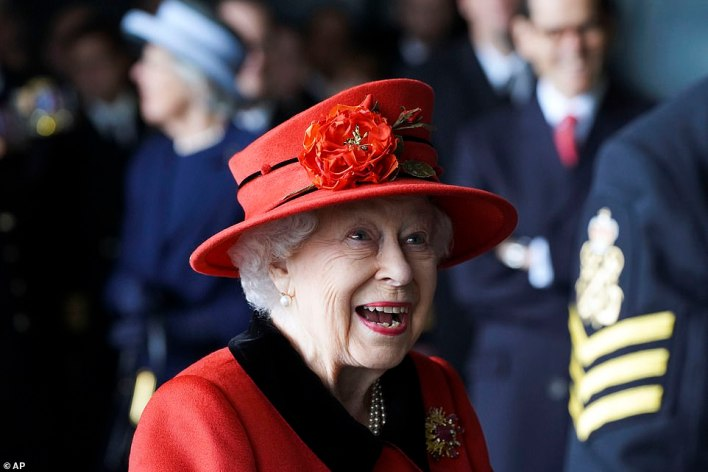 The 95-year-old monarch appeared to be in good spirits on Saturday afternoon as she visited the HMS Queen Elizabeth at HM naval base in Portsmouth