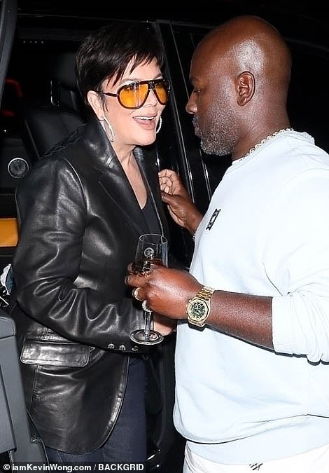 Night out: She was joined by her boyfriend Corey Gamble