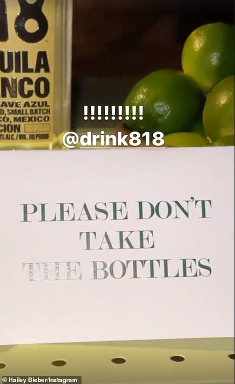 Bottle ban: She zoomed in on a sign that said 'please don't take the bottles' from the display