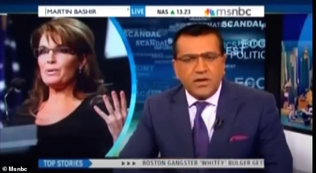 Palin's comments come eight years after she personally locked horns with Bashir when he branded her a 'world class idiot' in a saga that ultimately led to him quitting his role at MSNBC. Bashir hitting out at Palin in 2013 above