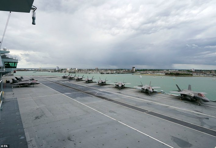 The HMS Queen Elizabeth was set to deploy to Asia for 28 weeks with a number of military aircrafts on board, including the F-35B aircrafts (pictured)