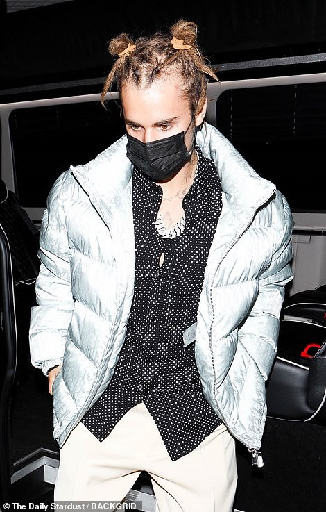 Solo arrival: The singer arrive separately to wife Hailey