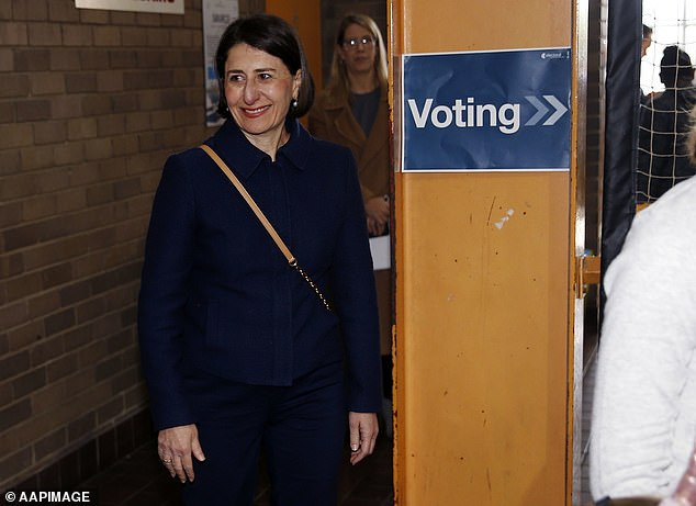 NSW Premier Gladys Berejiklian arrives to support the Nationals candidate on polling day on Saturday