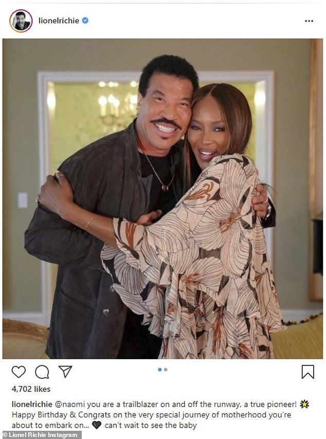 Trailblazer: Lionel called her a 'trailblazer' and teased 'can't wait to see the baby'