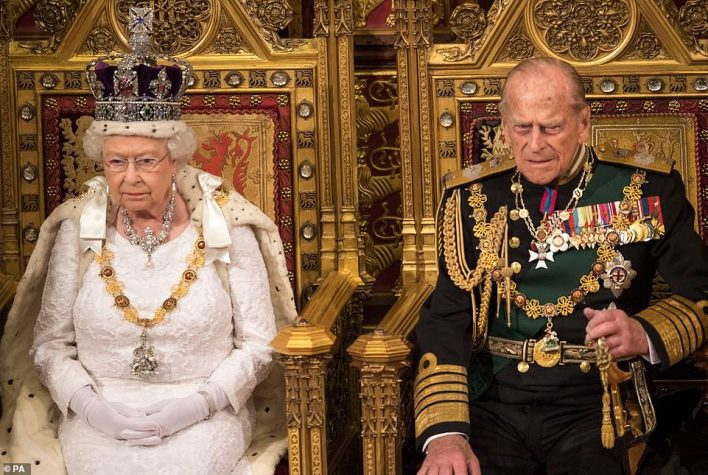 When the Queen Mother died in 2002, people clapped respectfully as the Queen's car returned from commemorative prayers at Westminster Hall to Buckingham Palace. The reaction to Prince Philip's death was similarly affectionate. The couple are seen in 2016 at the State Opening of Parliament