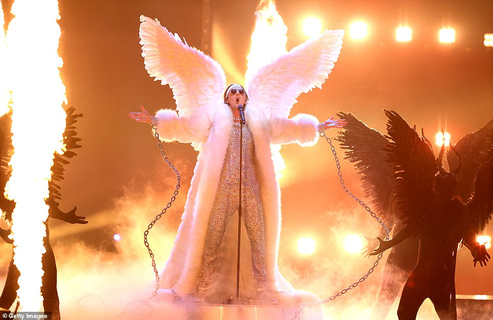 Andreas Haukeland 'TIX' of Norway donned angle wings as he performed at the 65th Eurovision Song Contest