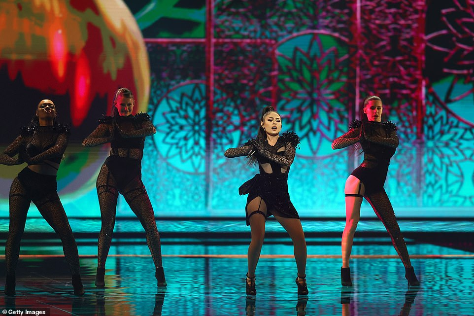 Samira Efendi of Azerbaijan performs with her dancers during the 65th Eurovision Song Contest grand final held at Rotterdam