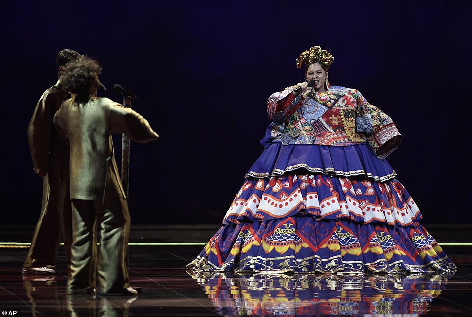 Manizha Dalerovna Sangin, from Russia, sings her song in front of the live audience in Rotterdam, the Netherlands