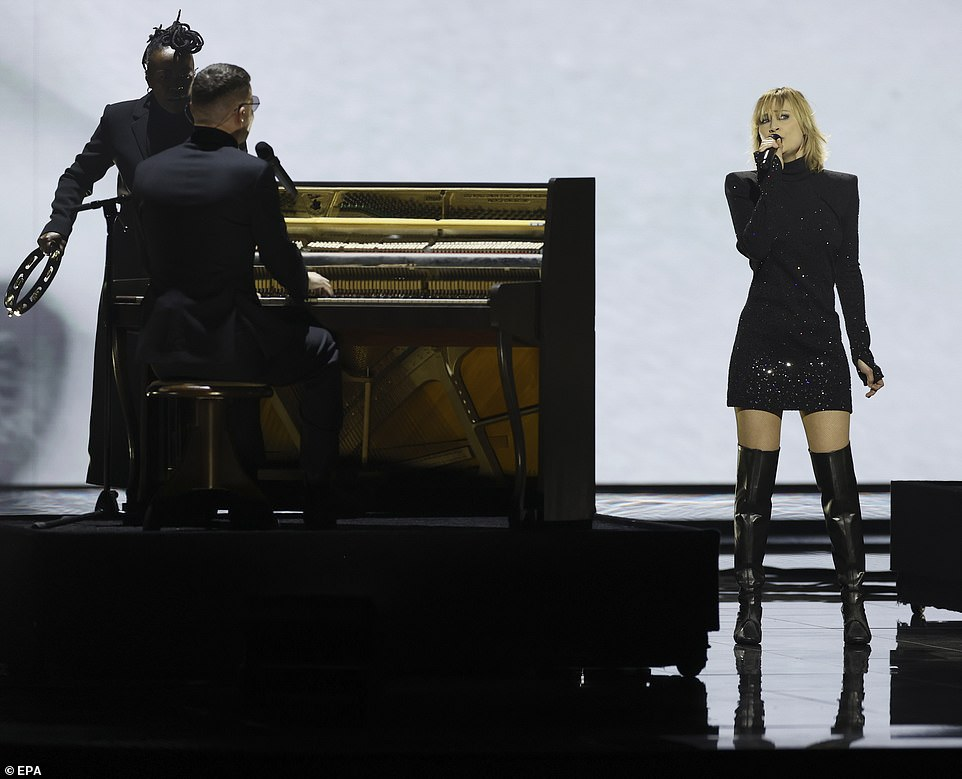 The band Hooverphonic from Belgium perform their song The Wrong Place during the grand final tonight
