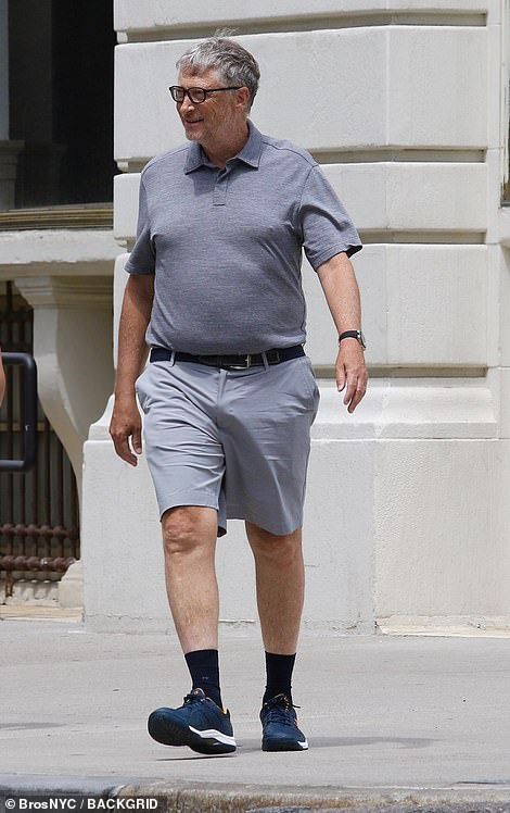 On Saturday, Gates sported black dress socks with sneakers and shorts, paired with a casual grey polo shirt as he walked to lunch with his companions