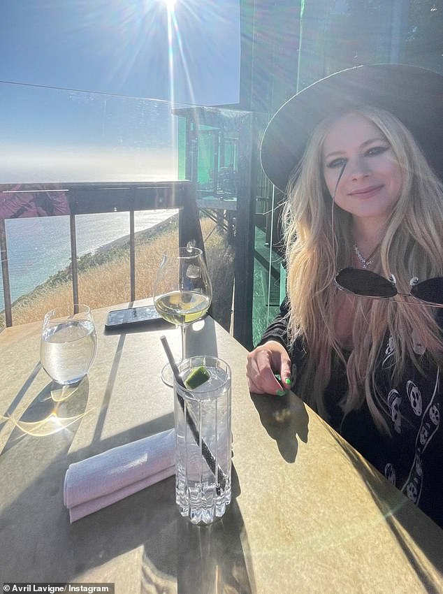 Scenic: During lunch at Nobu, the took to her Instagram Stories and shared several photos and short video clips taken at her table just feet away from the Pacific Ocean