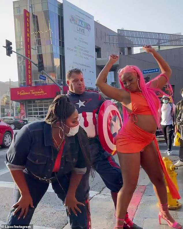 Having fun with it: It comes after Lizzo twerked in front of a Captain America impersonator as she made a cheeky reference to her flirty DM escapades with Chris Evans
