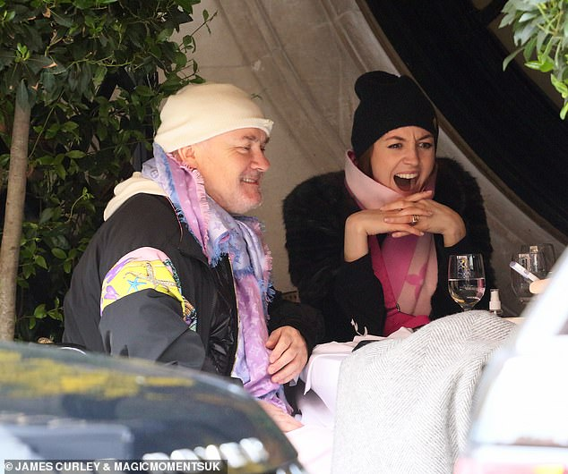 Having fun:The duo appeared to be in great spirits during lunch at Scott's, with the artist joking around at the table much to the ballerina's delight