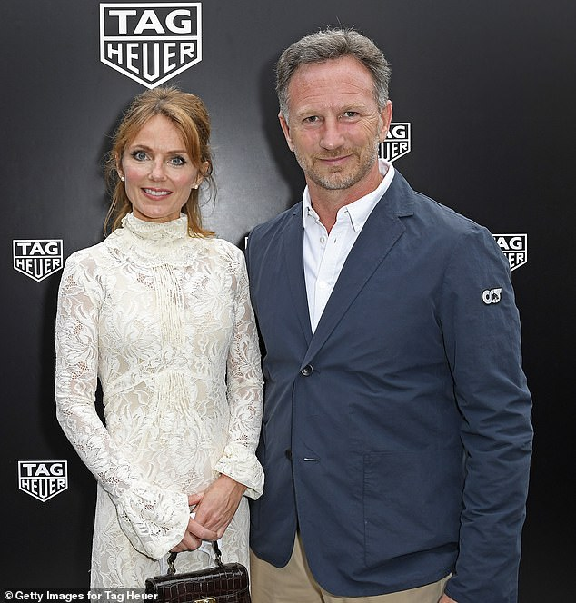 Chic: Meanwhile, Geri recently joined her Formula One team principal husband Christian at the Monaco Grand Prix for a private dinner at the Hotel Fairmont on Saturday