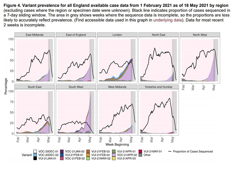 Data from Public Health England shows the prevalence of variants across all the regions of England, with the Indian variant (light purple) compared to the Kent variant (white/pink). Data shows B.1.617.2 is now dominant in the North West, making up around 70 per cent of all sequenced cases. The proportion of samples analysed in a lab is shown by the black line. The sharp drop off is down to the lag in getting samples analysed and not because of a huge reduction in swabs being checked