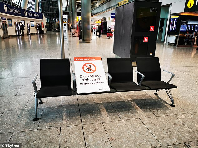 A picture taken by Skytrax in Terminal 5 arrivals. The ratings agency saysit has boosted Heathrow's rating to 'reflect many improvements to the hygiene, safety and cleanliness protocols and standards introduced at the airport'