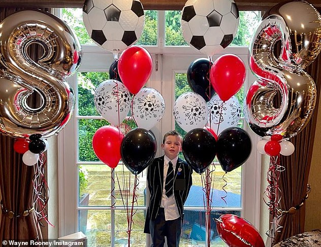 Sweet:It comes after the WAG celebrated her son Klay's eighth birthday on Friday with a lavish football-themed balloon display