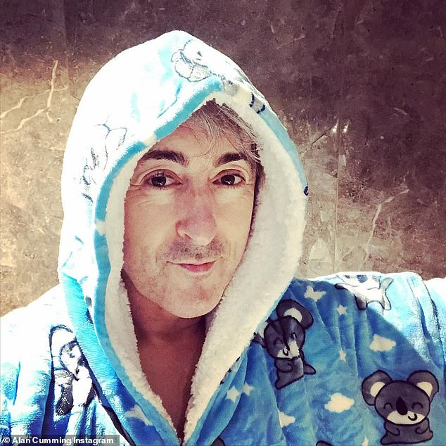 Cosy as a koala: He recently shared a photo of himself on Instagram at the time wearing what appeared to be a blue hooded robe printed with koalas.'Quarantine in Adelaide begins...' he captioned the selfie