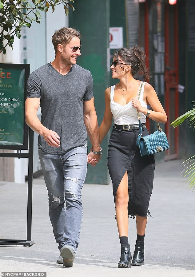So happy: Justin Hartley and wife Sofia Pernas are pictured leaving their lunch date at The Palm Court restaurant at the Plaza Hotel in NYC on Sunday
