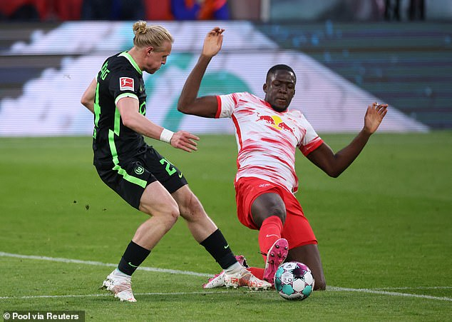 Ibrahima Konate of RB Leipzig (right) has been mentioned in the same breath as Liverpool