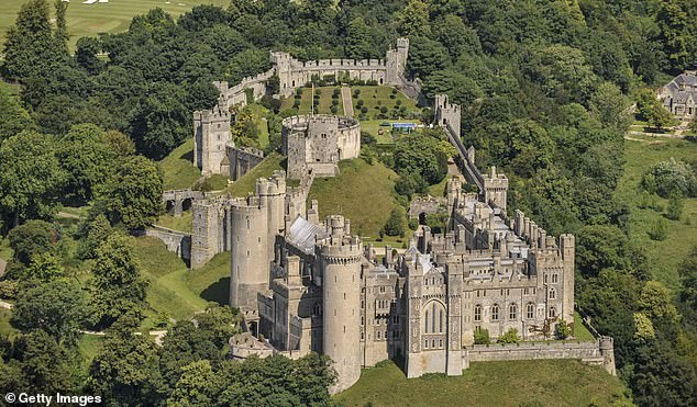 Police are examining a 4x4 found abandoned and on fire in nearby Barlavington a short while after the break in at Arundel Castle (pictured)