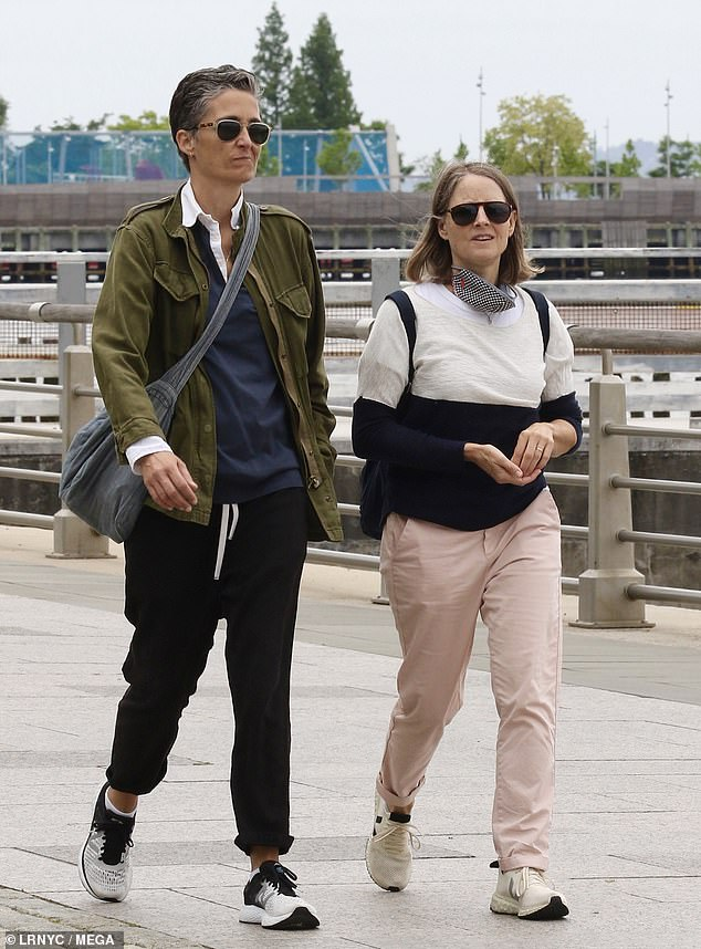 Exercise: The 58-year-old former child star wore pink pants with a b&w sweater while the 51-year-old photographer sported an Army-green jacket and black joggers