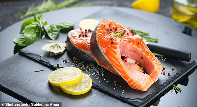 Diet of fish and eggs may ease rheumatoid arthritis. Pictured:Raw Trout Red Fish Steak
