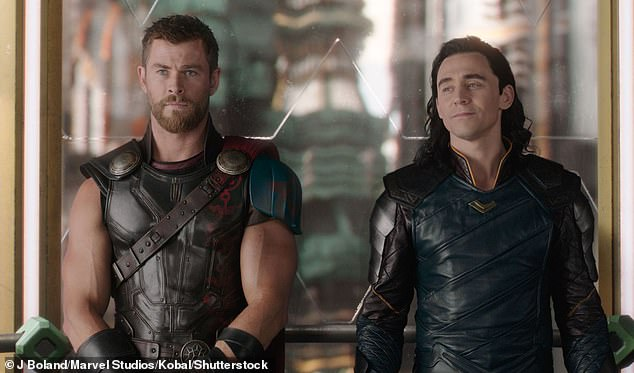 Byron brigade: Chris lives in Byron Bay and frequently commutes to film shoots in Sydney via private jet, often with his family in tow. Pictured on set of Thor: Ragnarok with Tom Hiddleston