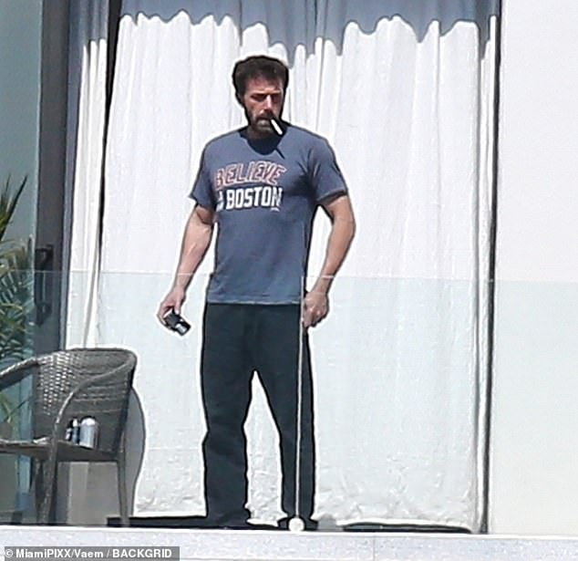 Loyal: Affleck repped his hometown of Boston with his choice of t-shirt
