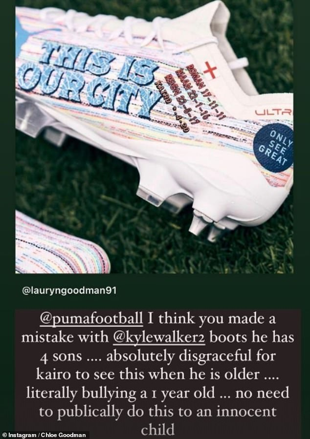 Furious: The reality star, 27, said it was 'vile' the Manchester City star had opted to leave his son out when he unveiled the new boots (pictured is an edited version Lauryn shared to Instagram)