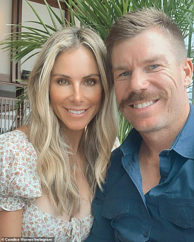 Keen:Candice Warner (left) has revealed she can't wait to see her husband, David Warner (right), after he was stuck overseas amid the pandemic