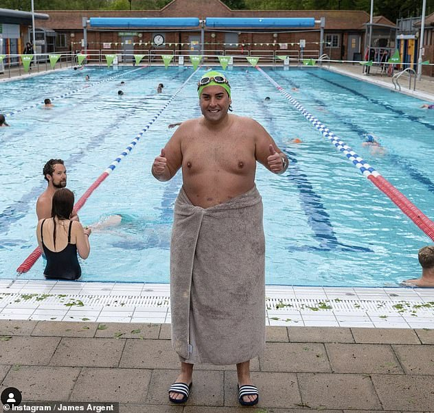 Fitness journey:Arg is currently preparing to take part in two open water challenges, the John West Great North Swim and the John West Great East Swim, in June