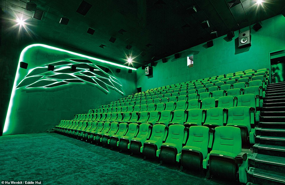 CINEMA FUTURA, ZHONGSHAN, CHINA:This image showcases one of Cinema Futura's four screening rooms. The name of the room is The House of Green Amazon. Its sister rooms are 'Blue Whale', 'Red Earth' and 'Purple Rain'