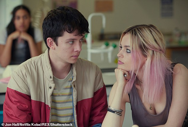 Rising star: Screen star Emma rose to prominence as outspoken and troubled teenager Maeve Wiley in Netflix's sex comedy-drama (pictured in show with co-star Asa Butterfield)