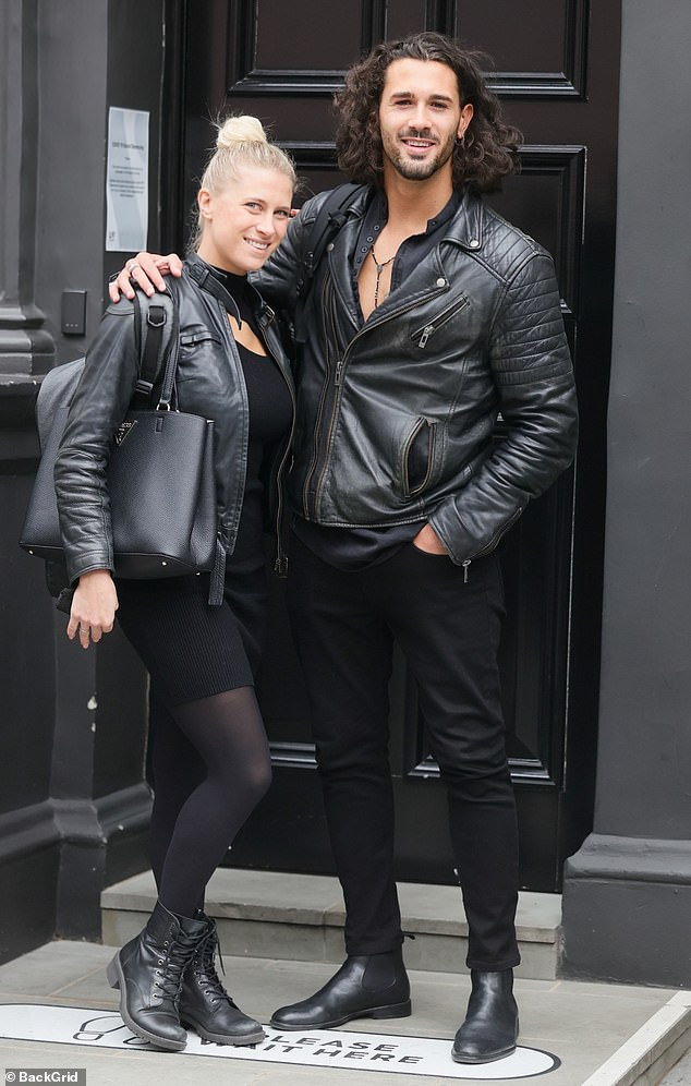 Happy: He was joined by fellow dance proGraziano and his fiancéeGiada Lini to begin rehearsals as the show finally makes its West End debut after multiple delays