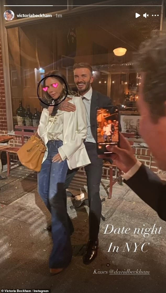Date night! Victoria and her husband David, who have been married for 22 years, proved the magic is still alive as they enjoyed a night on the town in New York on Monday