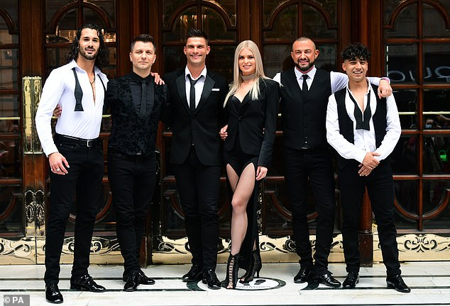 Looking good: The dancers joined (L-R) Graziano di Prima, Pasha Kovalev, Robin Windsor and Karim Zeroual to officially launch the show's West End run