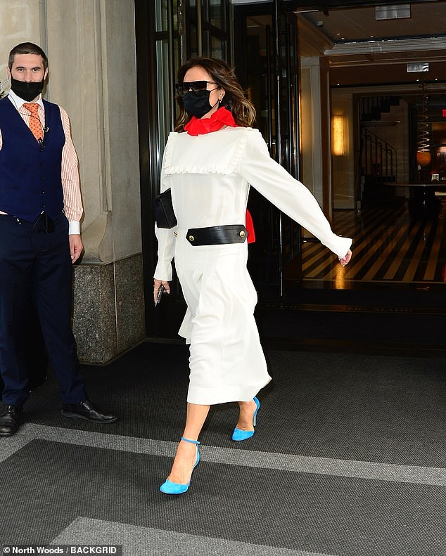 Stylish:To finish off the look the fashion icon donned a pair of sky blue high heels with a thin strap around the ankle