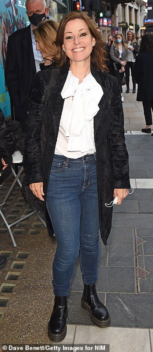 No stranger to the West End herself: Ruthie Henshall popped by in a white blouse with a pussy-bow detailing over jeans
