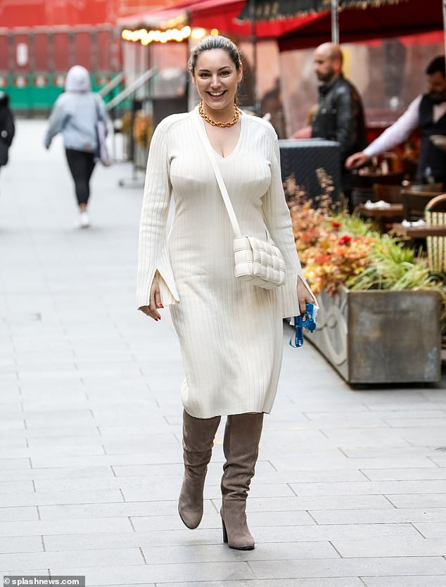 Chic: Former model and radio host Kelly Brook, 41, always puts on a fashionable display as Tuesday's look was no exception