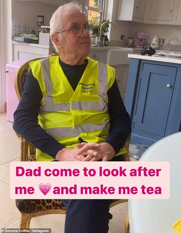 Doting dad:Her father was also on hand to look after her, and 'make tea'